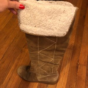 Michael Kors Tan Suede Over the Knee Boots